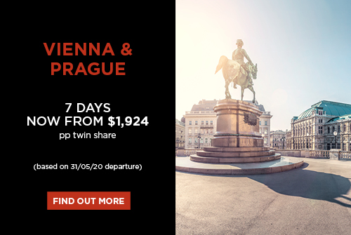 Vienna & Prague, 7 days now from $1,924 pp twin share